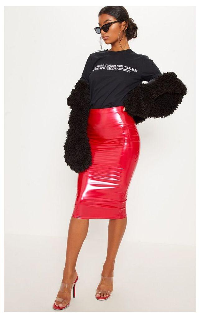 Red Vinyl Midi Skirt, Red