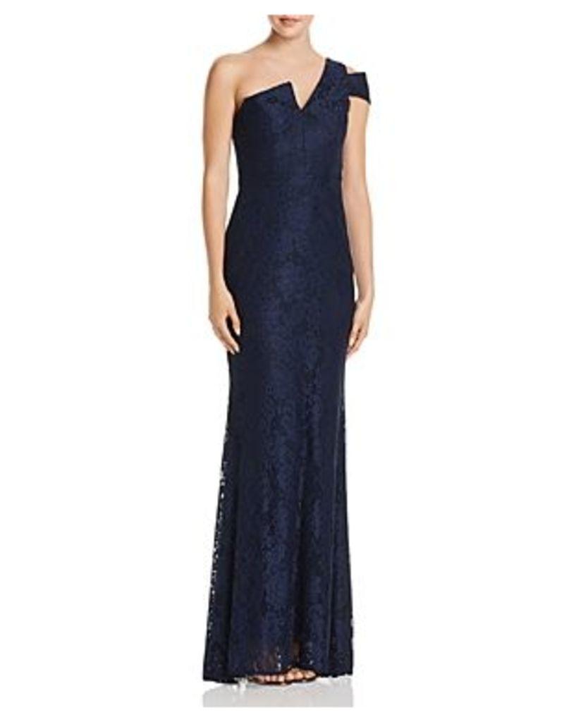 Aqua Lace Cutout One-Shoulder Gown - 100% Exclusive