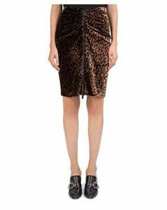 The Kooples Velvet Leopard Zip-Front Skirt