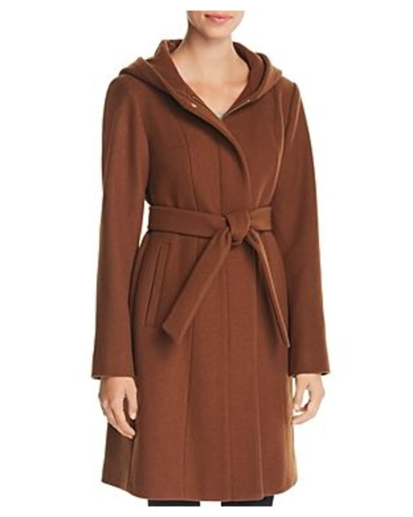 Vince Camuto Hooded Belted Wrap Coat