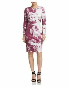 Donna Karan Long Sleeve Sequined Floral Sheath Dress