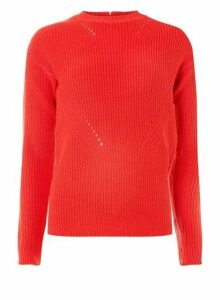 Womens Red Stitch Detail Jumper- Red, Red