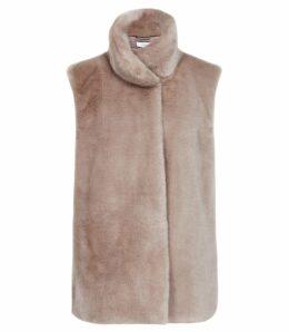 Reiss Fay - Faux Fur Gilet in Neutral, Womens, Size XL