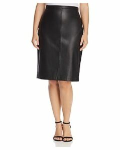Estelle Plus Troubled Weather Faux-Leather Pencil Skirt