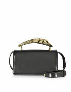 Maissa Designer Handbags, Black Glossy Leather Mini Shoulder Bag w/Gold Brass Mini Horn