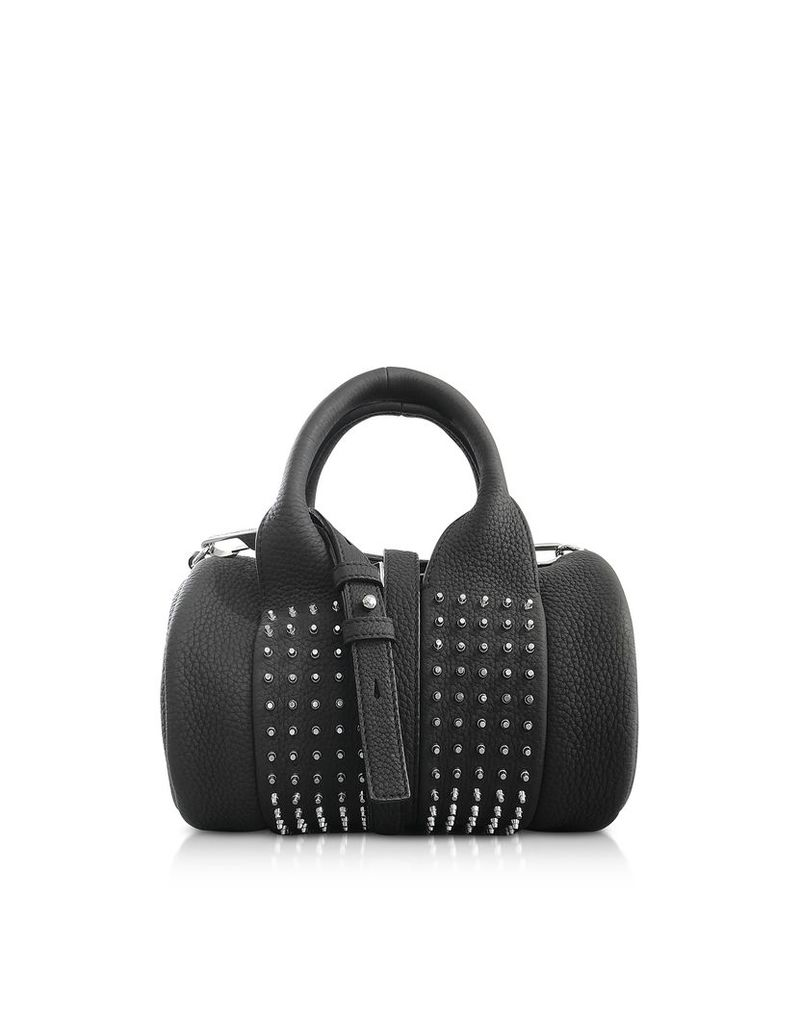 Alexander Wang Designer Handbags, Black Matte Leather Studs Baby Rockie Satchel Bag