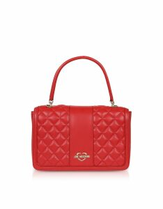 Love Moschino Designer Handbags, Quilted Eco Leather Top Handle Bag