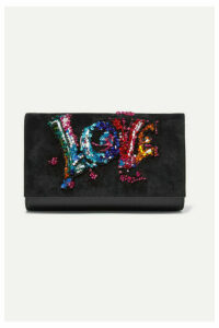 Christian Louboutin - Paloma Embellished Suede And Textured-leather Clutch - Black