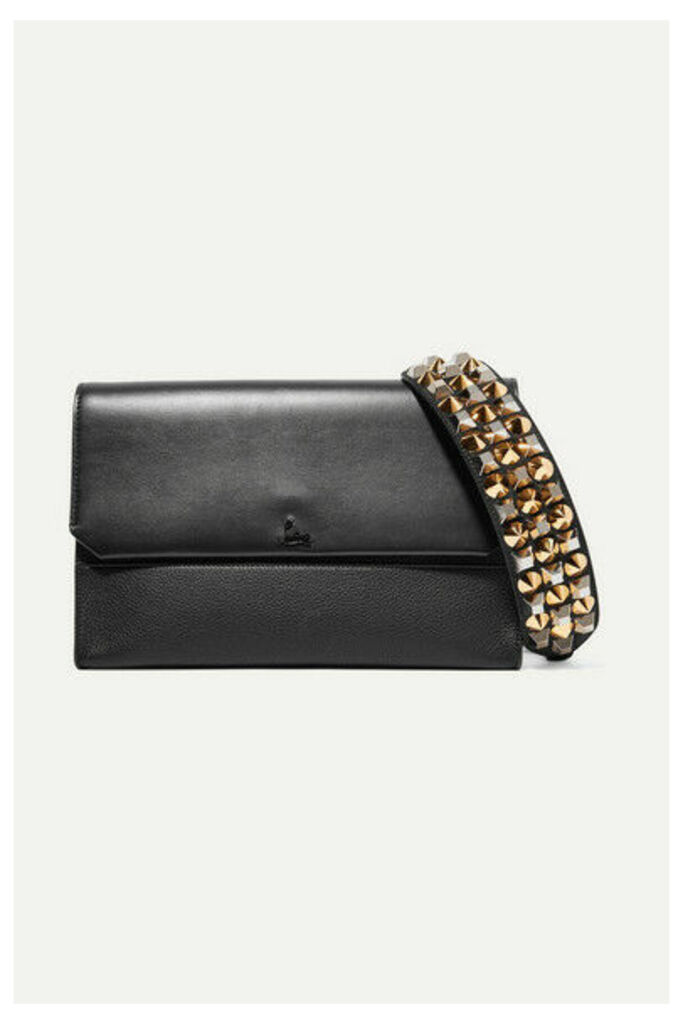 Christian Louboutin - Loubiblues Studded Smooth And Textured-leather Clutch - Black