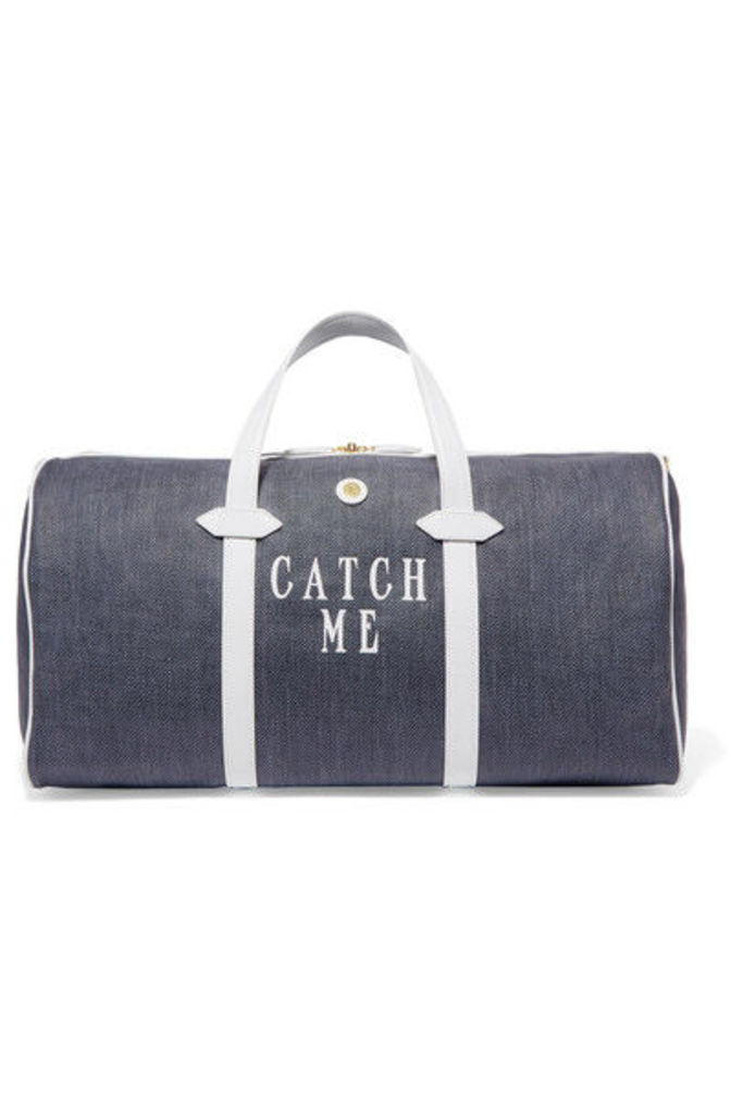 Paravel - Main Line Duffel Leather-trimmed Printed Canvas Weekend Bag - Navy