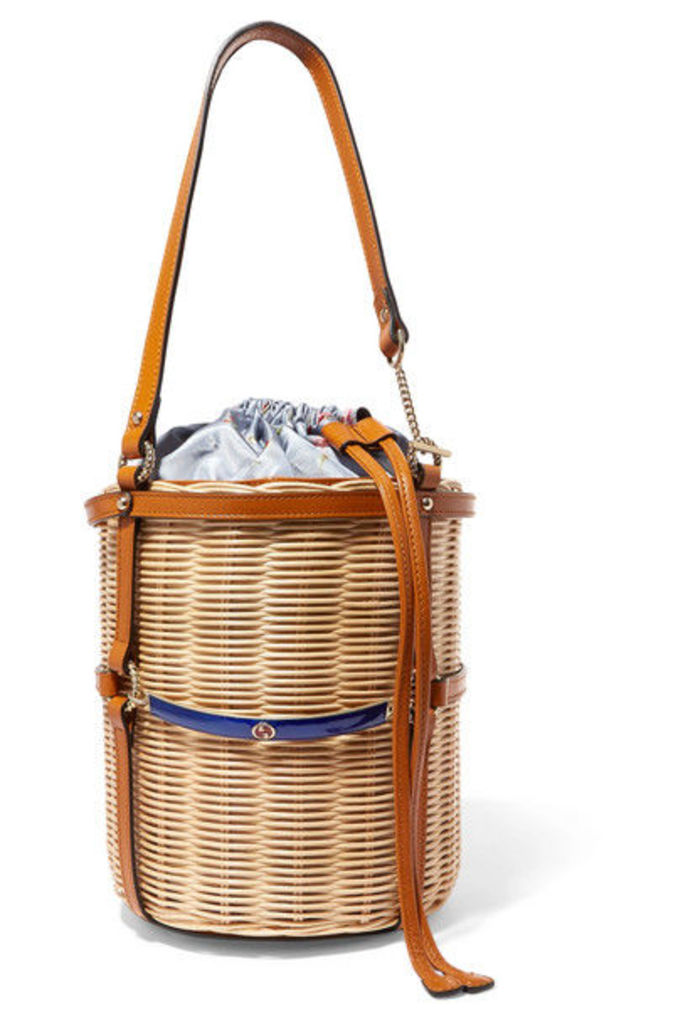 Gucci - Leather-trimmed Wicker Bucket Bag - Beige