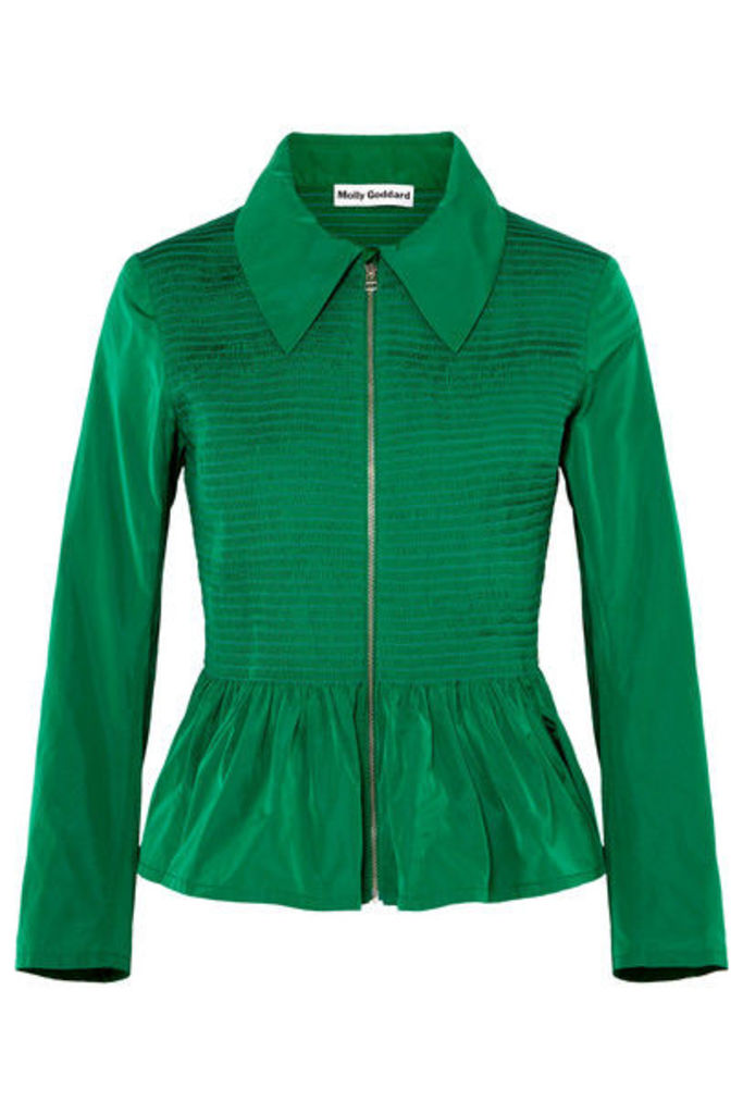 Molly Goddard - Lillian Shirred Taffeta Peplum Jacket - Forest green