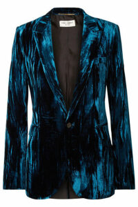 SAINT LAURENT - Crushed-velvet Blazer - Cobalt blue