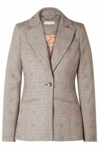 Altuzarra - Embroidered Checked Wool-blend Blazer - Beige