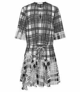 Reiss Lars - Check Print Shift Dress in Monochrome, Womens, Size 16