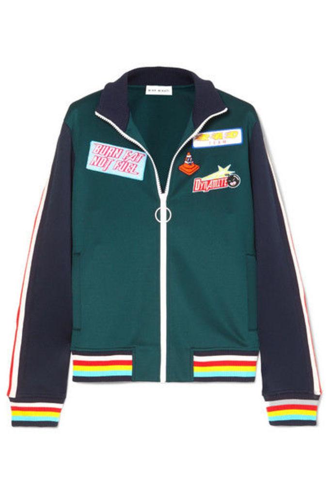 Mira Mikati - Striped Appliquéd Stretch Scuba-jersey Track Jacket - Petrol