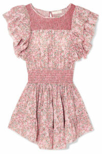 LoveShackFancy - Marcella Smocked Floral-print Cotton-voile Mini Dress - Pink