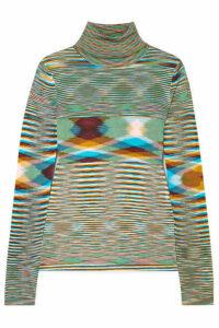 Missoni - Striped Crochet-knit Turtleneck Sweater - Blue