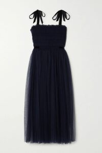 Chloé - Lace-trimmed Pleated Printed Washed-silk Midi Skirt - Black