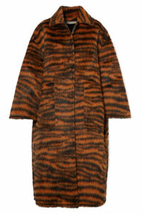 Bottega Veneta - Oversized Tiger-print Llama-blend Coat - Black