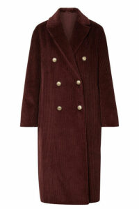 Brunello Cucinelli - Double-breasted Cotton-corduroy Coat - Plum