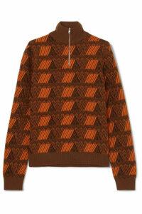 Prada - Intarsia Wool And Cashmere-blend Sweater - Brown