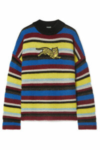 KENZO - Jumping Tiger Appliquéd Striped Wool-blend Sweater - Burgundy