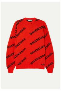 Balenciaga - Oversized Intarsia Wool-blend Sweater - Orange