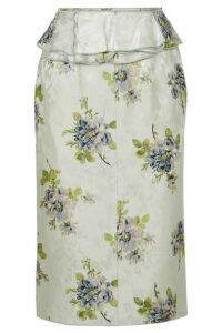 Brock Collection - Sylvi Ruffled Floral-print Silk-jacquard Midi Skirt - Light blue