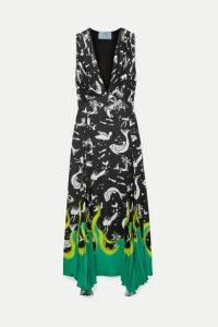 Prada - Asymmetric Printed Crepe Midi Dress - Black