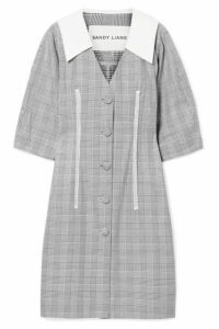 Sandy Liang - Leo Lace-trimmed Plaid Cotton And Crepe De Chine Dress - Gray