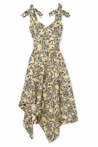 Proenza Schouler - Asymmetric Floral-print Georgette Midi Dress - Pastel yellow