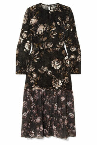 Markus Lupfer - Mina Floral-print Devoré-chiffon Dress - Black