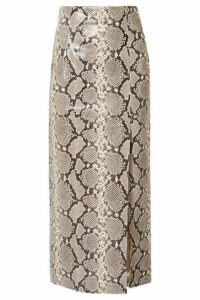 Attico - Snake-effect Leather Midi Skirt - Snake print