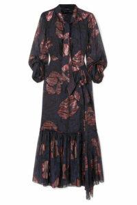 Roland Mouret - Dana Cutout Metallic Fil Coupé Silk-blend Chiffon Dress - Navy