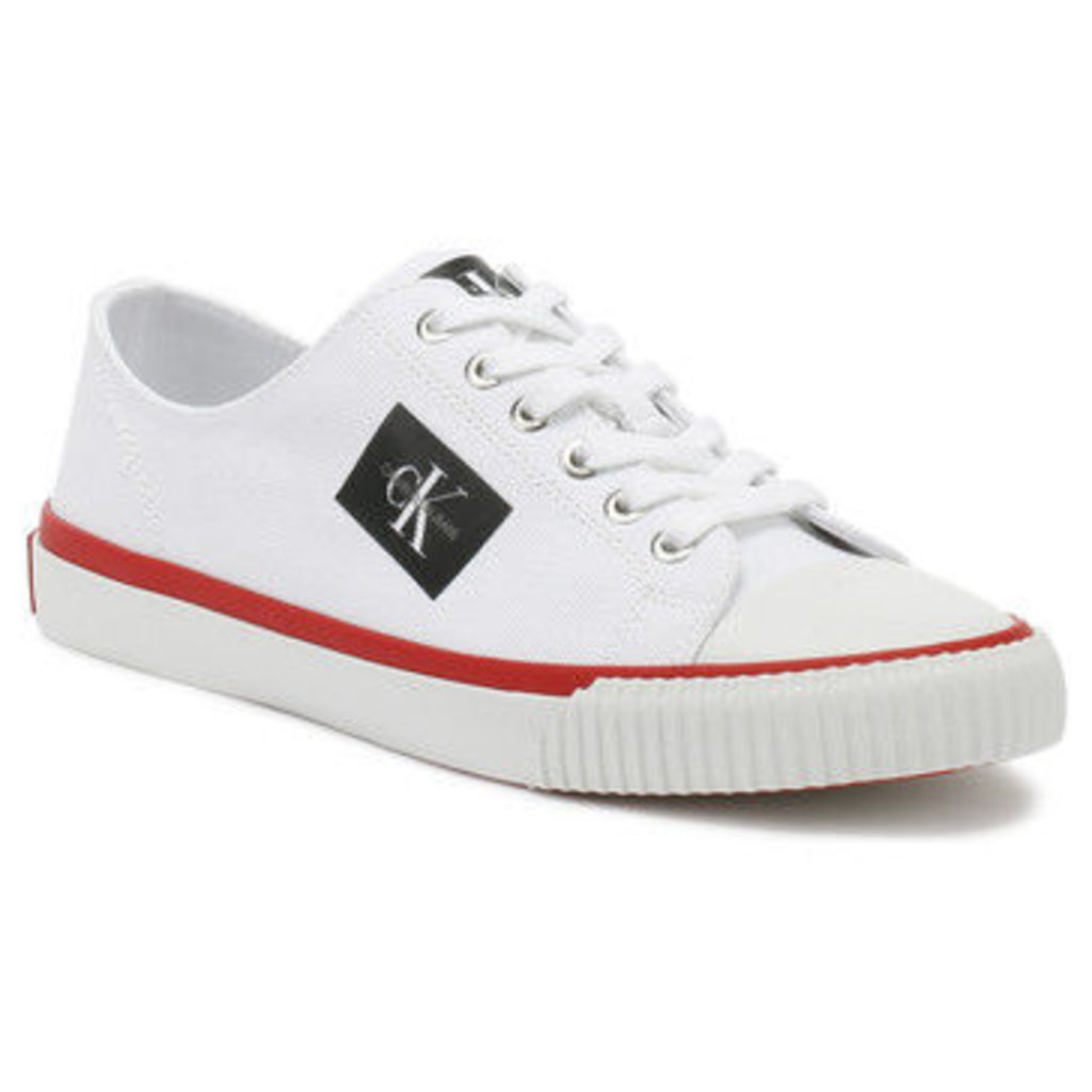 Calvin Klein Jeans  Womens White Canvas Ivory Trainers  women's Shoes (Trainers) in multicolour