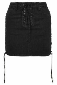 Unravel Project - Lace-up Denim Mini Skirt - Black