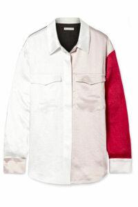 REJINA PYO - Sophie Color-block Washed-satin Shirt - White