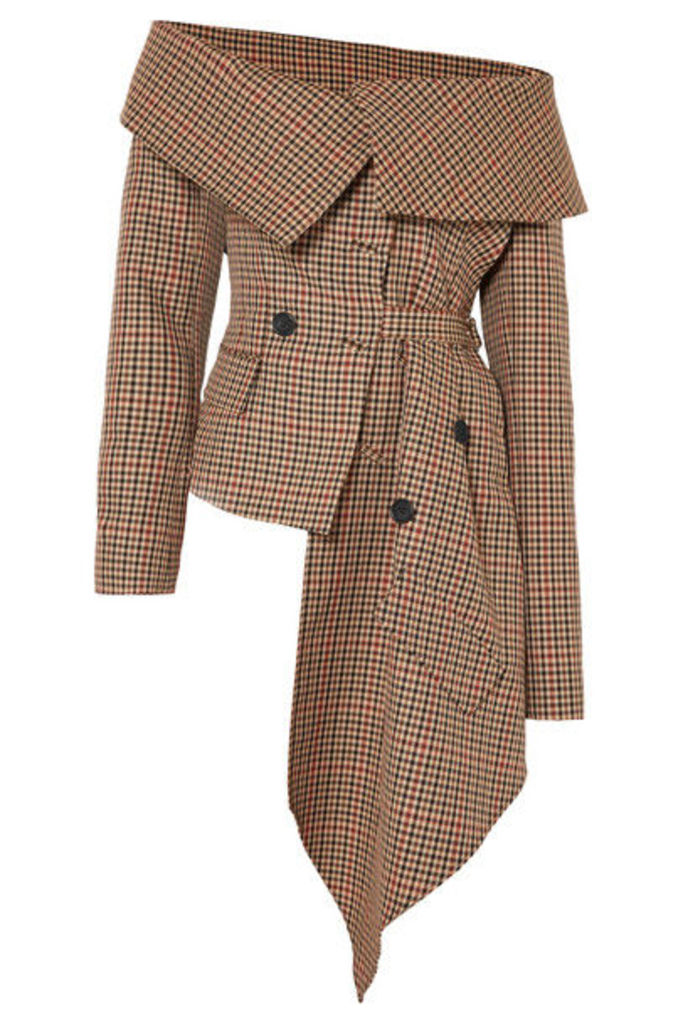 Monse - Off-the-shoulder Asymmetric Draped Checked Wool-blend Jacket - Brown