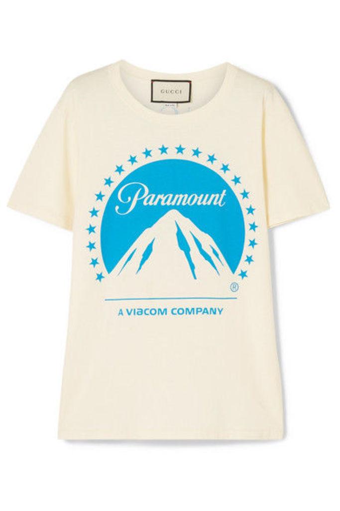 Gucci - Printed Cotton-jersey T-shirt - Ivory