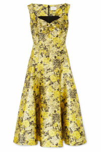 Erdem - Verna Floral-jacquard Midi Dress - Yellow