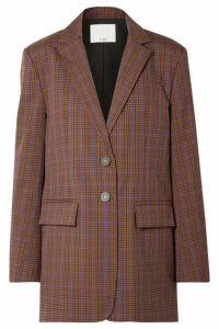 Tibi - Oversized Checked Woven Blazer - Brown