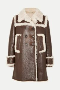 Miu Miu - Shearling-trimmed Textured-leather Coat - Brown