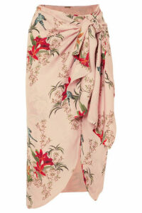 Johanna Ortiz - Libertad Lamarque Knotted Printed Silk-georgette Wrap Skirt - Pastel pink
