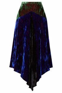Christopher Kane - Asymmetric Paneled Crushed-velvet Midi Skirt - Blue