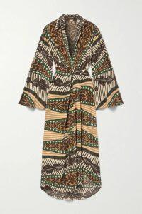 GANNI - Floral-print Satin Midi Skirt - Cream