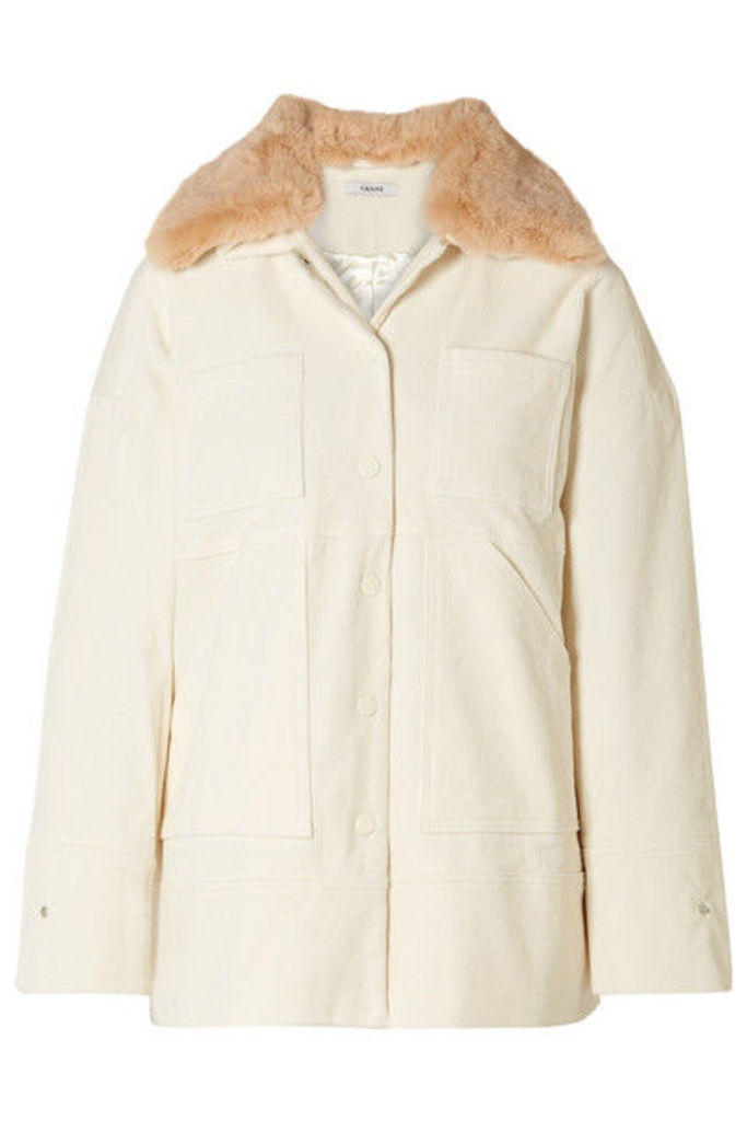 GANNI - Ridgewood Faux Fur-trimmed Cotton-blend Corduroy Jacket - Cream