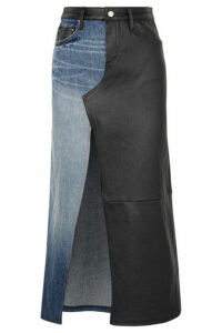 AMIRI - Asymmetric Denim And Leather Midi Skirt - Black