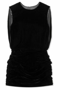 SAINT LAURENT - Ruched Velvet Mini Dress - Black