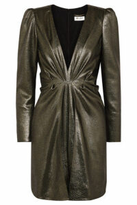 SAINT LAURENT - Twisted Silk-blend Lamé Mini Dress - Gold